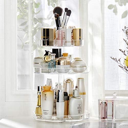化粧品収納ボックス 回転式化粧品収納ボックス多層大容量ラック分類可能プラスチック材料花弁形状白色透明 DWWSP (Color : Clear)