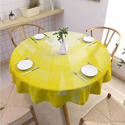 Halloween Restaurant Specials Las Vegas (VICWOWONE Polyester Round Tablecloth Yellow Decorated Restaurant Modern Circular Mosaic Motifs Digital Pixel Featured in Graphic Design Illustration,Round - 67 inch)