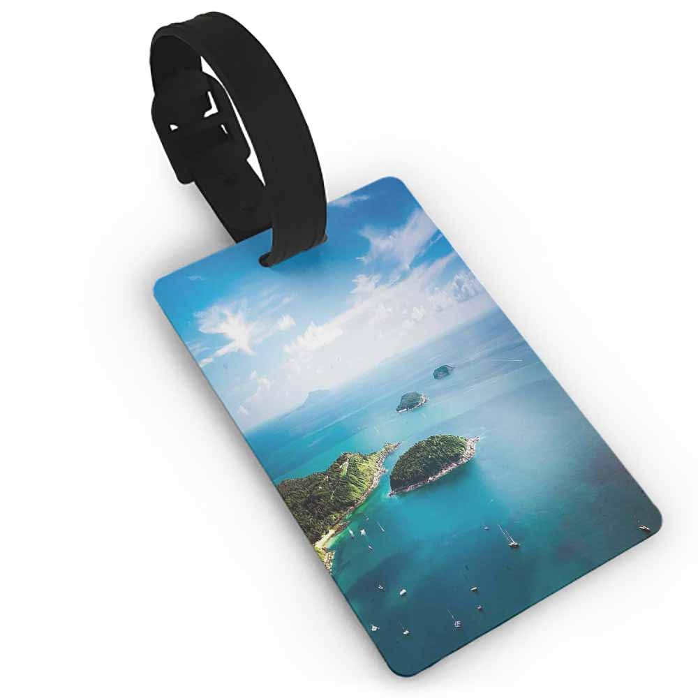 Luggage Tags with Genuine Leather Strap,Island,James Bond Island Phang Nga in Thailand Filming Cliff Geological Formation Tropics,Multicolor One Size Straps Suitcase Green Blue