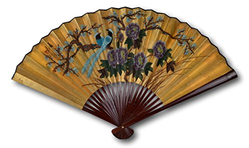 1980s Vintage Classic Large 42-inch Hand-painted Chinese Decorative Wall Fan, Paper Fan, Gold Leaf, Birds, Cherry Blossom, Peony, Japanese Style (2412)