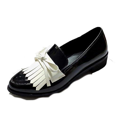 Mujeres CláSicos Mocasines Zapatos De Fiesta De Trabajo Cuero De Charol Bloque TalóN Punta Estrecha ResbalóN En Mariposa-Nudo Vestido De Dama Calzado: ...