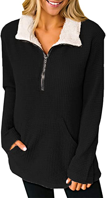 Les umes Womens Stand Collar Zipper Fuzzy Fleece Sherpa Pullover Sweatshirt Coat Winter Outwear with Pockets