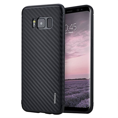 Galaxy S8 Case, SRS DIGICH Samsung S8 Ultra Slim Case with Carbon Fiber Pattern Anti-Scratch Anti-Fingerprint Protective Cover and Shockproof TPU Bumper Border for Samsung Galaxy S8 Black (Carbon Fiber Phone Cover)