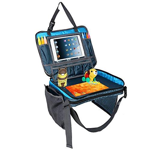 Towber Kids Ttravel Tray Toddler and School Children Lap Top Snack Drawing Desk Backseat Car Organizer Storage Bag with Large Mesh Side Pockets and Water Bottle Holder (Blue)