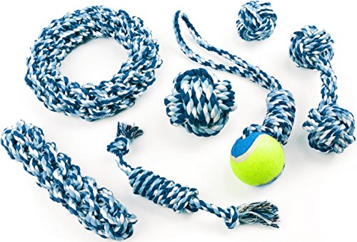 Friends Forever 7-Piece Assortment Rope Ball Chew Toy Set For Dog Who Like Chewing (Pack Durable)