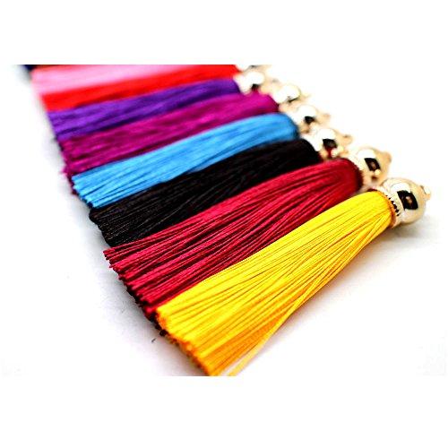 (Pamir Tong Fashion 12pcs Ice Silk Silky Tassel For Cell Phone Straps/DIY Earring/Handbag/Keychain Charms Handbag Pendant GD12ST32)