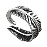 Gnzoe Ring-Men Stainless Steel Bands Rings Open Vintage Punk Feather Silver Size 7