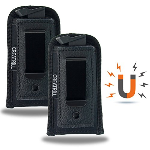 Creatrill 2 Pack Magnetic Pistol Magazine Holsters | Inside The Waistband IWB Tactical Mag Holder | Single Double Stack Mag Pouch for 9mm/.40 cal/380 (Medium Single Stack 9mm/.380 Cal)