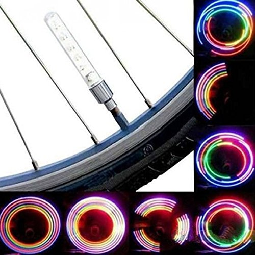 Calli 2 piezas 5 LED 8 intermitentes válvula de bicicleta de la bici ligera luz de la rueda Calli Jewels