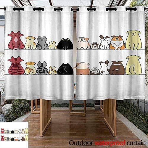 Onefzc Indoor/Outdoor Curtains Kids Cats and Dogs Collie Calico Labrador Scottish Shorthair Tabby Shih Tzu Pet Lovers Art Print Waterproof Patio Door Panel 72