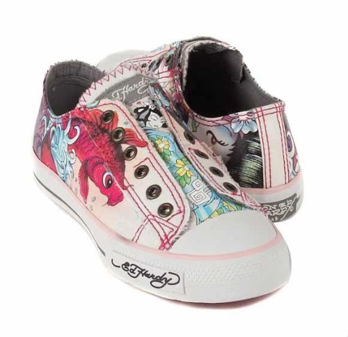 f693e42c9c Ed Hardy Pink Off White Grey Koi Fish Geisha Shoes Sneakers 18FLR605W (7)  (B001E363MQ)