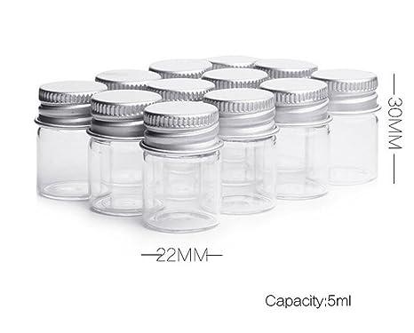 Frasco de cristal transparente de 5 ml con tapa enroscable de aluminio, tarros de muestra