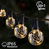 Outdoor String Lights, GlobaLink 11.7m G40 Globe Led String Lights, IP 65 Waterproof 30 Bulbs Patio Outside Lights Indoor Xmas Lights for Garden Backyard Gazebos Wedding Party Decoration - Warm White