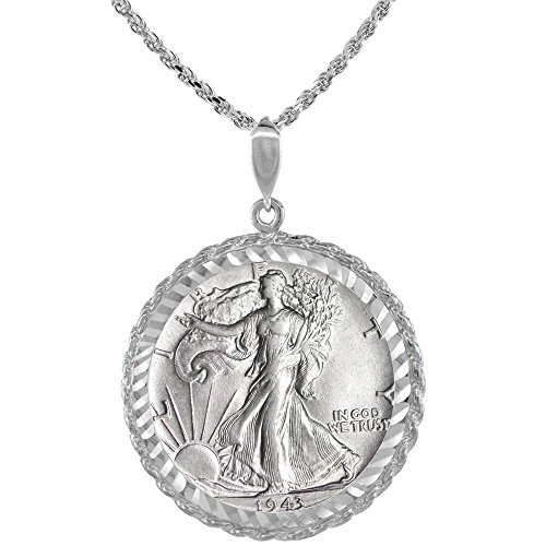 Sterling Silver Walking Liberty Half Dollar Coin Necklace Rope Bezel 1916 -47