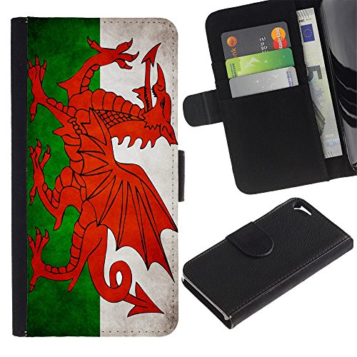 OMEGA Case / Apple Iphone 5 / 5S / Welsh Grunge Flag / Cuir PU Portefeuille Coverture Shell Armure Coque Coq Cas Etui Housse Case Cover Wallet Credit Card