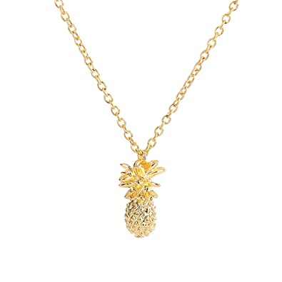 494be684e Buy palettei 3D Design Pineapple Pendant Necklace - Vintage Fruit Cute Link Chain  Necklace for Women Girl Jewelry Accessories (Gold) Online at Low Prices in  ...