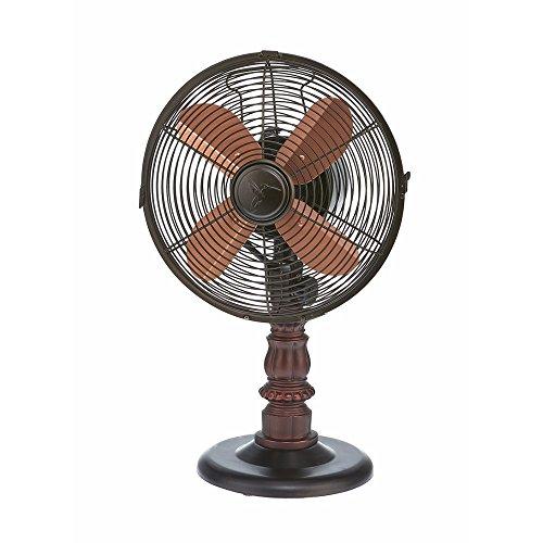 DecoBREEZE Oscillating Table Fan 3-Speed Air Circulator Fan, 10-Inch, Kipling (10 Inch Tabletop Fan)