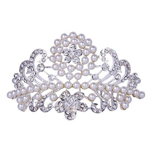 ROFIFY Women Girls Vintage Pearl Crystal Silver Plated Crown with Comb Princess Wedding Bridal Flower Tiara Headband ()