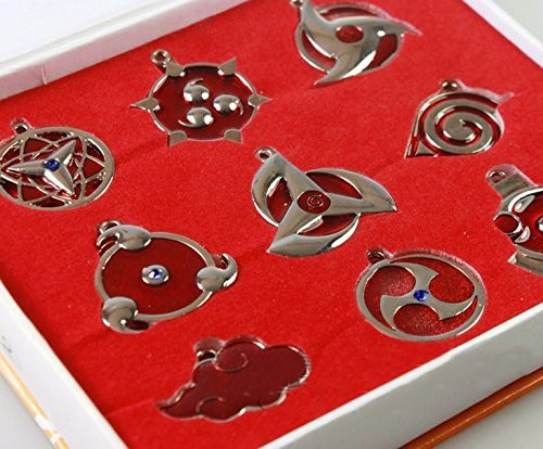 Anime Metal Pendant - 9 Pcs Naruto Sharingan Konoha Silver Kakashi Sharingan Uchiha Pendants Metal Keychains Key Ring and Necklaces Set Collectibles Gift in Box