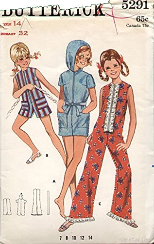 [Butterick 5291 Vintage 1960s Girls MOD Jumpsuit Romper Pattern Sz14 B32] (60s Mod Girl Costumes)