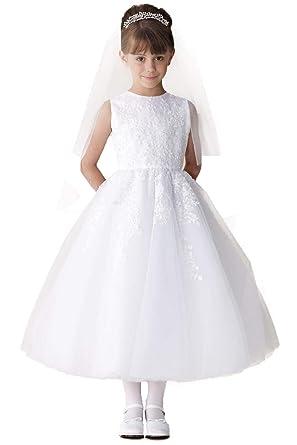 b3745b5232d Amazon.com  Joan Calabrese White Lace Appliqué Tulle Communion Dress   Clothing