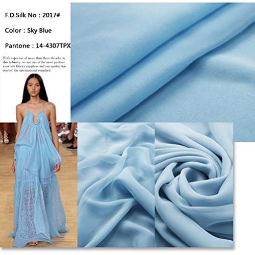 F.d.silk Sky Blue 100% Pure Silk Chiffon Fabric By the Yard, 48 Colors, Sky Blue - Blue Fd
