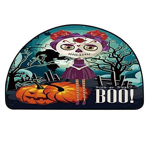 YOLIYANA Halloween Half Circle Rug,Cartoon Girl with Sugar Skull Makeup Retro Seasonal Artwork Swirled Trees Boo Decorative Door Mat,27.5
