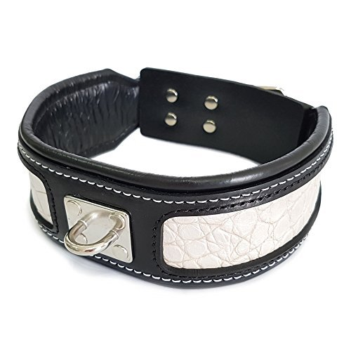 (Bestia Genuine Leather Big Dogs Collar. 2.5 inch Wide. Reptile Leather Pattern. 2.5 inch Wide. Soft Padded on The Inside. Super Durable and longlasting. M - XXL. Handmade in Europe!)