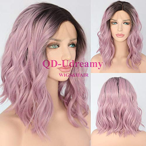 Cap Comfort Mono Wig - QD-Udreamy Brown Ombre Purple Short Water Wave Hair Lace Front Wigs Glueless Synthetic Hair Wigs Heat Resistant Hair Wigs for Women Daily Makeup
