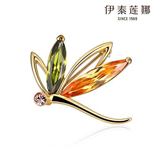 Maple Leaf Italina genuine crystal brooch pin pop dance style temperament girls Valentine's Day ()