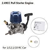 Alian 2.49CC 15 Side Exhaust Hand Pull Starter Engine for 1/12 1/10 HSP HPI RC Car Parts