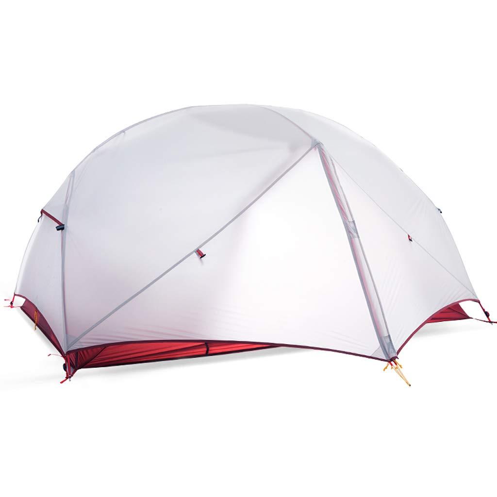 AX-outdoor products Doppeltes kampierendes Überdachungszelt des Zeltes im Freien Doppelte Wasserdichte Markisen-Nylon-Silikon-Tuch/hellgraue Farbe 210  135  100cm