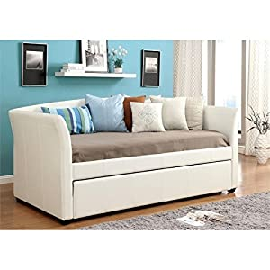 Furniture of America Alisa Modern Leatherette Daybed with with Roll-Out Trundle, White