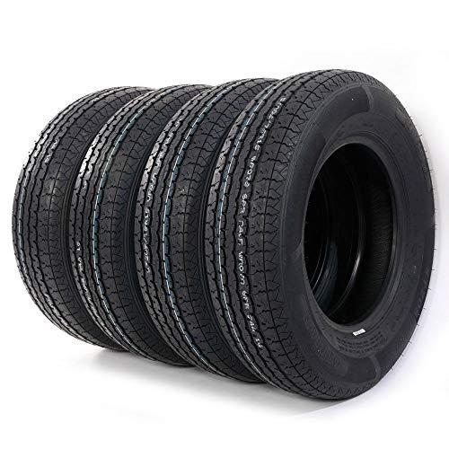 (4pcs Trailer Tire ST205-75R-15 Load Range D TIRES 8PR 205 75 15 2057515 Radial Tubeless Tires)