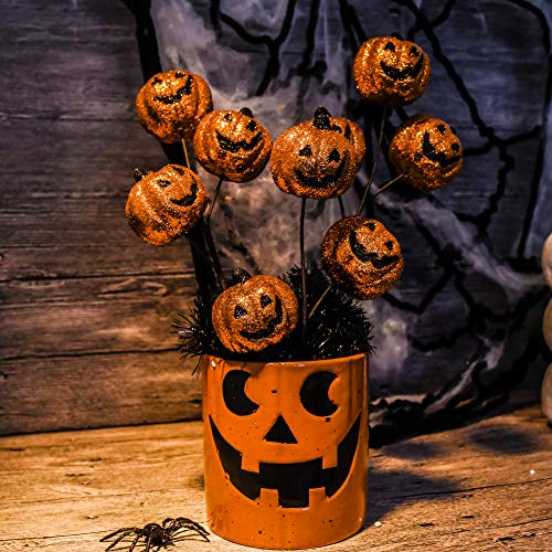 Valery Madelyn 6 Packs 12 inch Halloween Picks with Halloween Pumpkin for Home and Tree Decor, Treat-or-Trick Halloween Party Decorations (Orange)