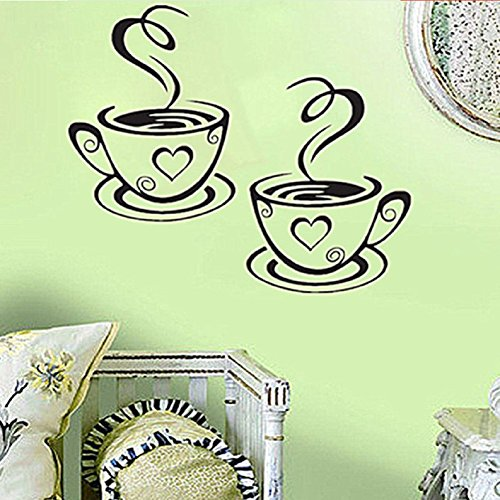 Coffee Cups Cafe Tea Wall Stickers Art Vinyl Decal Kitchen R
