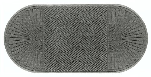 Andersen 274 Waterhog Grand Classic Polypropylene Fiber Double Ends Entrance Indoor/Outdoor Floor Mat, SBR Rubber Backing, 11.7' Length x 3' Width, 3/8'' Thick, Medium Grey by The Andersen Company