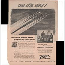 Zenith Radio With Exciting New Radionic Marvels War-Proved In The Stratosphere 1945 Vintage Antique Advertisement