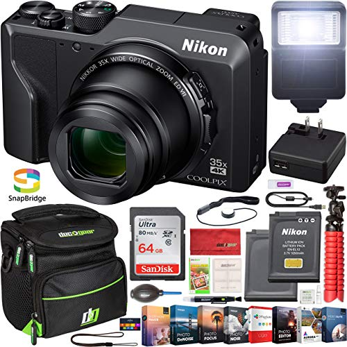 - Nikon Coolpix A1000 35x 4K Wi-Fi Digital Camera with Double Battery + 64GB Memory Card + Deco Gear Photography Gadget Bag + Flash + Photo Video Editing Software & Maintenance Accessory Kit
