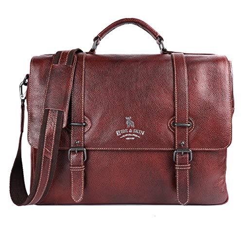 HIDE  amp; SKIN Men #39;s Leather Laptop Messenger Bag