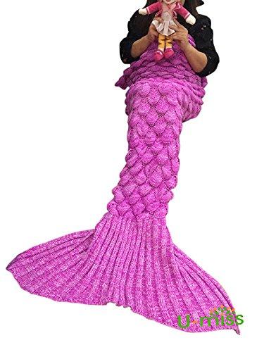 U-miss Mermaid Blanket Crochet and Mermaid Tail Blanket for adult, Super Soft All Seasons Thicken Sleeping Blankets (71