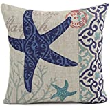 prefe Cotton Linen Square Throw Pillow Case Cushion Cover Shell Pillowcase 18 X 18 Inch (Starfish) by prefe