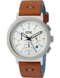 Mens Retrofocus Chrono Makers Quartz Stainless Steel and Leather Dress Watch, Color: