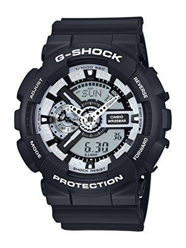 Casio Men's XL Series G-Shock Quartz 200M WR Shock Resistant Resin Color: Black With White Accents (Model GA-110BW-1ACR)