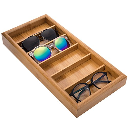 MyGift Modern Bamboo 6-Slot Sunglasses Storage Case Eyewear Display Tray