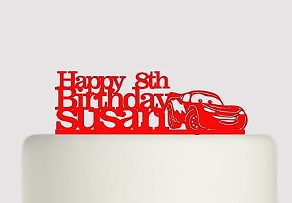 Cars Lightning Mcqueen Birthday Cake Acrylic Cake Topper