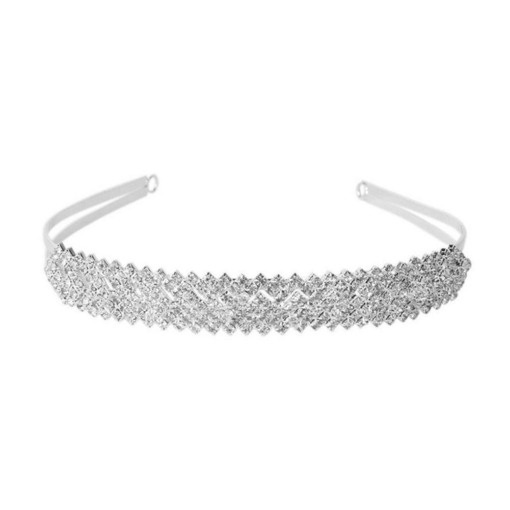 Wedding Bridal Rhinestone Crystal Decor Headband Hairband Tiara Silver Hobees