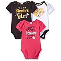 NFL Pittsburgh Steelers Girls  Daddy Loves  Bodysuit (3 Pack), 12 Months, Black