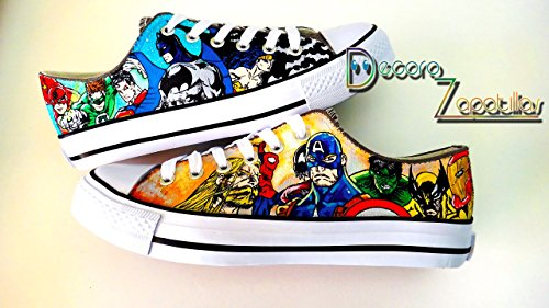 Superhero Marvel Dc custom canvas shoes handpainted, sneakers low tops shoes - Christmas gift - Black Friday - Gifts for her - Gifts for - Justice League Sneakers