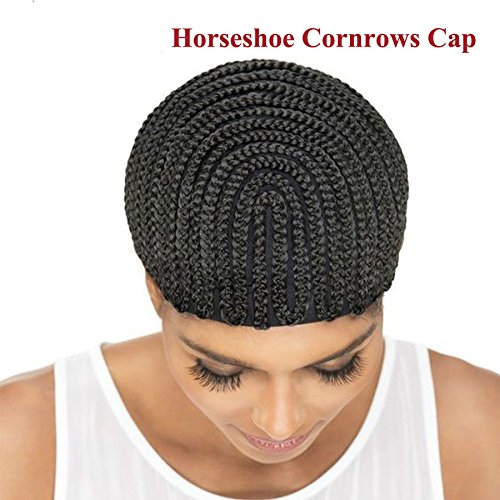 Crochet Stretch Cap (1PC Braided Cornrow Wig Caps For Making Wigs Black Stretch Net Adjustable Large Wig Cap Braided Weave Cap For Wig)
